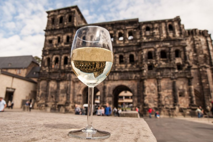 Wine Glass in front of the Porta Nigra