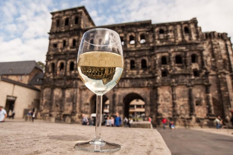 Wine Glass in front of the Porta Nigra