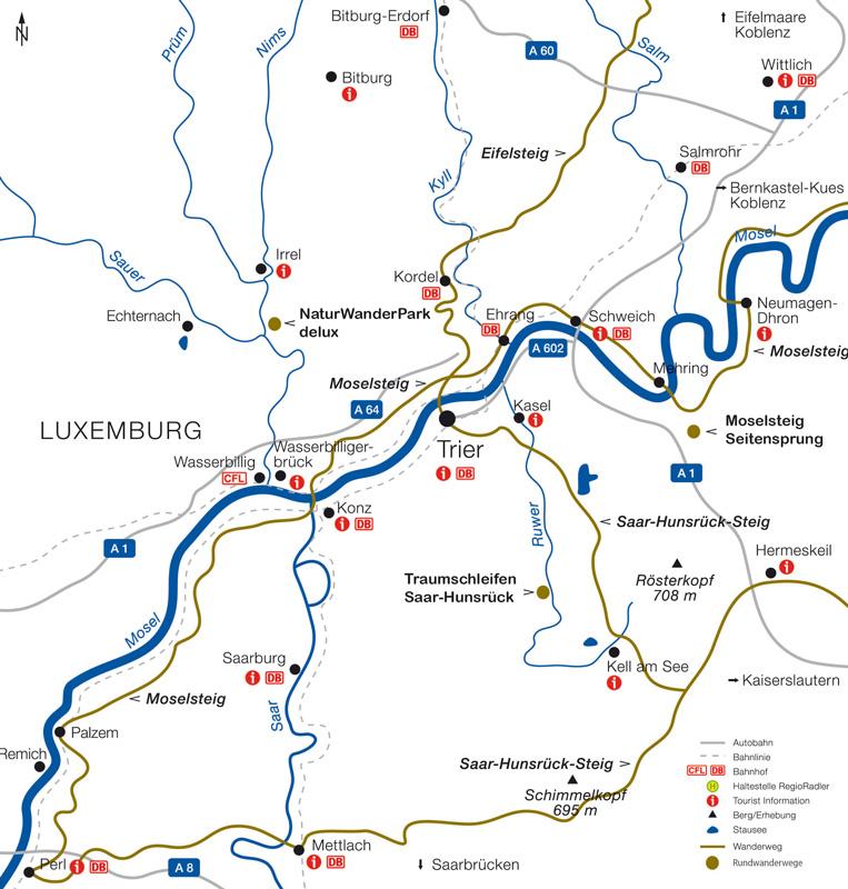 Trier Karte Umgebung.Tourist Information Trier Wandern Wanderwege